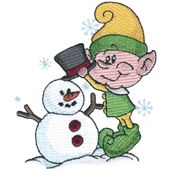 Elf Building A Snowman embroidery design