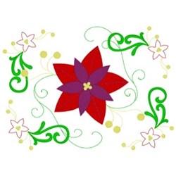 Christmas Poinsettias Square embroidery design