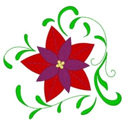 Christmas Poinsettias &  Swirls embroidery design