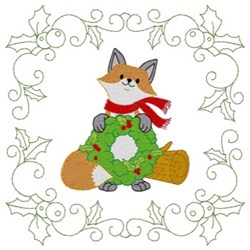 Christmas Fox Quiilt Square embroidery design