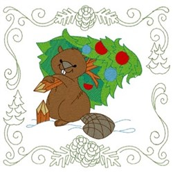 Beaver Quilt Square embroidery design