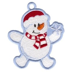 Snowman Catching Snowflake Ornament embroidery design