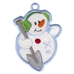 Snowman With Shovel Ornament embroidery design