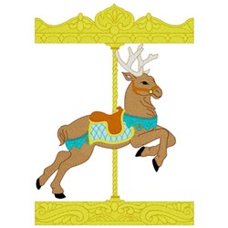 Carousel Reindeer embroidery design