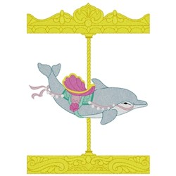 Carousel Dolphin embroidery design