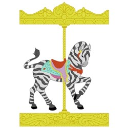 Carousel Zebra embroidery design
