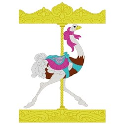 Carousel Ostrich embroidery design