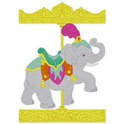 Carousel Elephant embroidery design