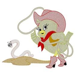 Lasso Cowgirl Bird embroidery design