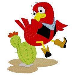 Bird Sitting On Cactus embroidery design