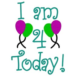 I Am 4 Today embroidery design