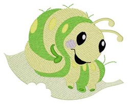 Caterpillar On Leaf embroidery design