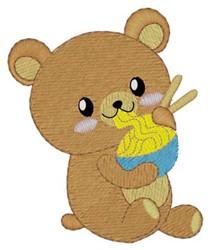 Teddy Bear Eating embroidery design