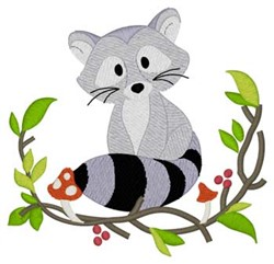 Woodland Raccoon embroidery design