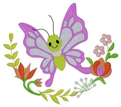 Floral Garden Butterfly embroidery design