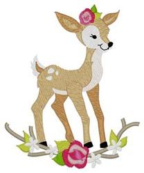 Woodland Girl Deer embroidery design