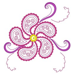 Paisley Flower embroidery design