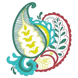 Paisley Leaf embroidery design