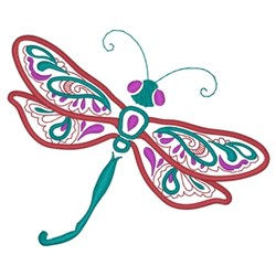 Paisley Dragonfly embroidery design
