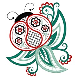 Paisley Ladybug embroidery design