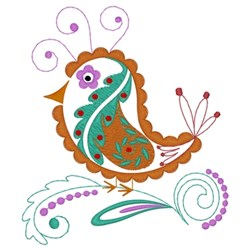 Paisley Quail embroidery design