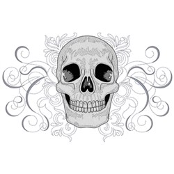 Skull with Decorative Scrolls embroidery design