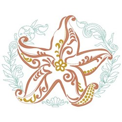 Abstract Starfish embroidery design
