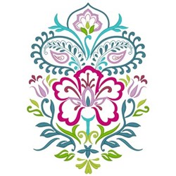Paisley Flowers embroidery design