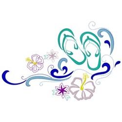 Flip Flops Floral embroidery design