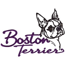 Boston Terrier embroidery design