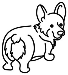 Corgi Outline embroidery design
