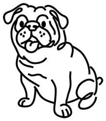 English Bulldog Outline embroidery design