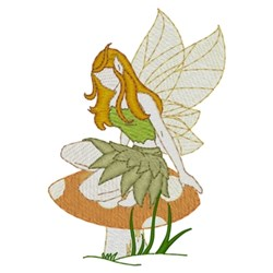 Fairy On A Mushroom embroidery design