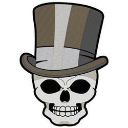 Skull With Top Hat embroidery design