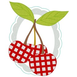 Gingham Cherries embroidery design