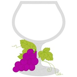 Wine Glass Applique embroidery design