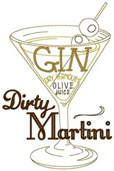 Dirty Martini embroidery design