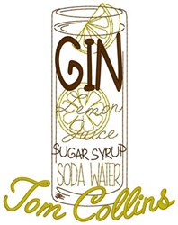Tom Collins embroidery design