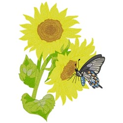 Sunflowers With Swallowtail embroidery design