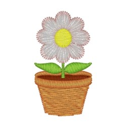 Flower Pot - Daisy embroidery design