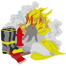 Fire Scene W/ Equipment embroidery design