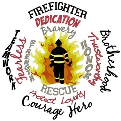 Firefighter Word Collage embroidery design