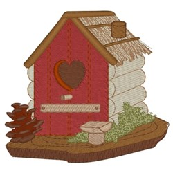 Heart Cabin Birdhouse embroidery design