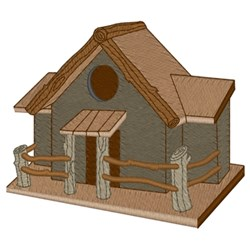 Wooden Lodge Birdhouse embroidery design