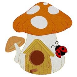 Mushroom Birdhouse W/ Ladybug embroidery design