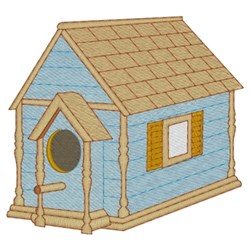 Brown & Blue Birdhouse embroidery design