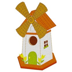Windmill Birdhouse embroidery design