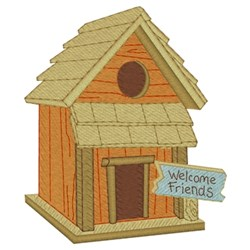 Welcome Friends Birdhouse embroidery design