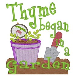 Thyme Began In Garden embroidery design