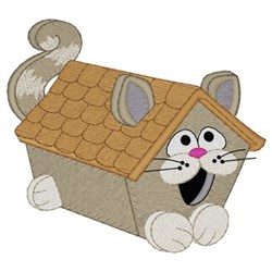 Cat Birdhouse embroidery design